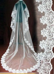 Wholesale Cheap M White Ivory Bridal Veils Tulle Applique Lace One Layer Voiles de mariage