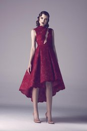 Wholesale 5pc A Line Colorful Wedding Dresses Burgundy Lace Sheer High Neck