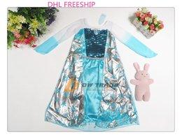 Wholesale DHL FREE hot frozen girls Elsa sequins princess dresses baby kids blue lace silver costume dress clothes clothing J070402