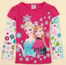 Wholesale 30pcs frozen girls tops nova latest designer autumn winter snowflakes printing fuchsia baby long sleeve t shirts toddler girls clothing