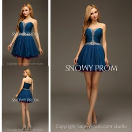 Wholesale Vintage Custom Made Peacock Blue Homecoming Dress Strapless Luxury Crystals Short Mini Prom Dresses A Line Dresses Party Evening AL1310