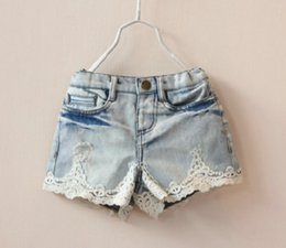 Wholesale Children s Shorts Girls Jeans Lace Shorts Children Casual Denim Clothing Summer All Match Toddler Kids Clothes Wears Brand