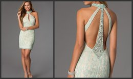 Wholesale 2015 Graduation Dresses Lace Crystal Aqua Homecoming Dress Short Party Dress Beach Mini Prom Gowns Sexy Personalized Pageant Cocktail Dress