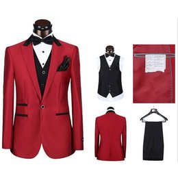 Wholesale Brand New One Button Groom Tuxedos Peak Lapel Best man Suit Big Red Groomsman Bridegroom Wedding Prom Suits Jacket Pants Tie Vest A571
