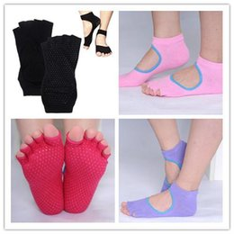 Wholesale Home Backless Women Cotton Yoga Socks Non slip Five Finger Sports Socks pairs colors Available