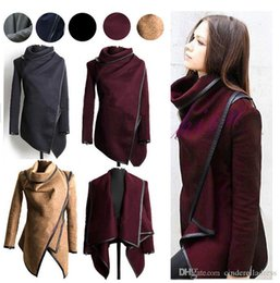 Wholesale 2016 Fall Winter Clothes for Women New European and American Wool Blends Coats Ladies Trim Personality Asymmetric Rules Short Jacket Coats