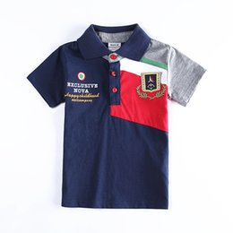 Wholesale Boys Short Sleeve Polo Shirts Nova Summer Autumn Cotton Gentleman Shirt Undershirt Boy Kids Children Child Clothes Navy Blue K1872