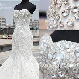 Wholesale 2015 cristal de luxe robes de mariée sirène sweetheart étage longueur strass Corset plus nuptiale de bal du soir Robes Custom Made BO7819