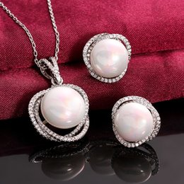 Wholesale Weddings Jewelry Set Necklace earrings Original Round Pearl New Best Quanlity White golden s056