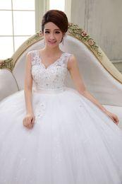 Wholesale 2015 new Korean version of the word shoulder wedding dress for pregnant women waist strap new V neck off shoulder wedding dress