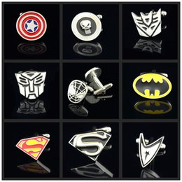 Wholesale Men s Cufflinks Captain America Super hero French Style Cuff Button for Business Shirt Brand Sleeve Button Fashion Accessories pairs