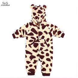 Wholesale Nouveau né beaux vêtements pour bébés Automne Hiver Vêtements bébé Girafe Elephant Zebra Lapin animaux Baby Style Romper