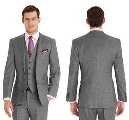 Wholesale New Custom Made Slim Fit Groom Tuxedos Side Slit Best Man Suit Wedding Groomsman Men Suits Bridegroom Jacket Pants Tie Vest Tailcoat Suits