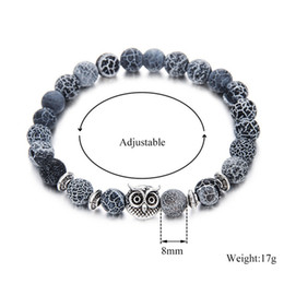Summer love Alloy jewelry Night owl 8mm Beaded Strands bangle agate ball 8mm volcanic Lava Stone Bracelet