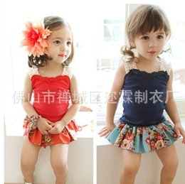 Wholesale Summer Children Clothing Girls Red Blue Camisole Fashion Girl Clothes