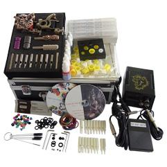 Wholesale Basekey Tattoo Kit K206 Guns Machine With Power Supply Grips Back Stem Tube Color Ink Cups Needles