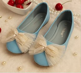 Wholesale 2015 Spring Girls PU Leather Step In Shoes Pearl Tulle Bowknot High Quality Child Kids Party Dress Flats Sansals Pink Beige Blue K3803