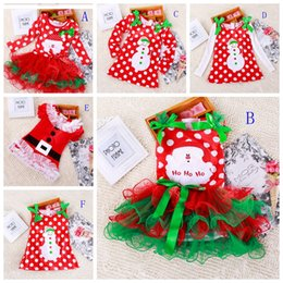 Wholesale Girls christmas dress babies clothes kids holiday clothes children dresses for girl Santa Claus snowman printed child infant lace tutu skirt