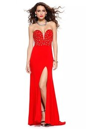 Wholesale Sexy Backless Celebrity Dresses Sheath Sweetheart Crystal Beaded Floor Length Side Split Chiffon Red Carpet Women Gowns Custom Made