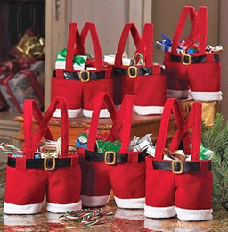 Wholesale 2014 Hot Santa pants style Christmas candy gift bags X mas Bag Gift new year wedding party candy bags