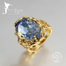 Wholesale great big gemstone ring with sapphire gold plated ring factory price