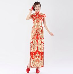 Wholesale Cheap Chinese traditional Satin flowers Long design Cheongsam fashion lace flower evening dress women Cheongsam Wedding Dresses Prom party