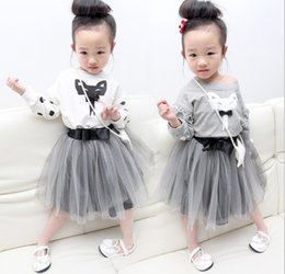 Wholesale 2016 Spring Clothing Set cm Baby Girls Fox T Shirt Bow Tulle Skirts Outfit Kids Clothes T shirt Jumper Skirt Suit K6747
