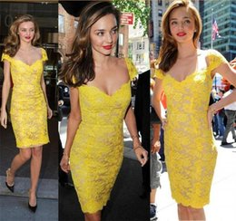 Wholesale Brightly Yellow Short Celebrity Casual Dresses street style Miranda Kerr Off the shoulder backless Girl s Party Cocktail Gowns cap sleeves