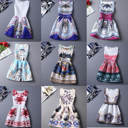 Wholesale 23 Style Choice Girls Best Sale Summer Dresses New Fashion European and American Style Floral Printing Vest Dress Lady New Dresses