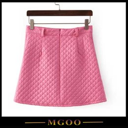 Wholesale MGOO Spring Pink Pu Leather Skirts For Women Plaid Line On Pencil Skirts With Two Pockets