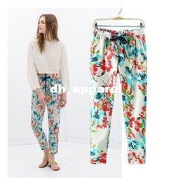 Wholesale Fashion Women Summer Women Pants femme European American Style Chiffon Print flower Harem palazzo Pants Elastic Waist