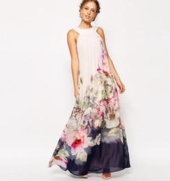 Wholesale 2016 Summer Floral Print Maxi Dresses Women Beach Club Casual Loose Chiffon Sleeveless O Neck Long Plus Size Boho Dress Clothers OXL072901