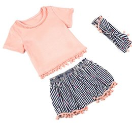 Wholesale Toddler baby summer casual clothes infant clothing sets kids t shirts cotton floral shorts tassel pants headbands girl suit boutique outfit