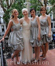 Wholesale 2015 Silver Bridesmaid Dress Grey Bridesmaid Dress Sleeveless Dress Knee Length Draped Grecian Dress Party Dress Short Dress Casual Wedding