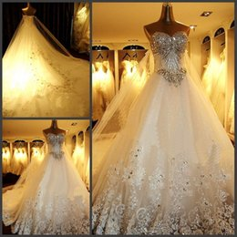 Wholesale 2015 Spring Wedding Dresses In Stock Wedding Gowns Newest Luxury Zuhair Murad Sweetheart crystals cathedral wedding dresses Custom Made New