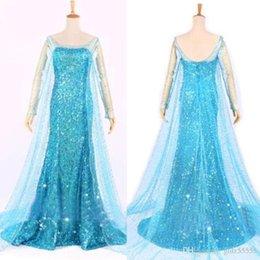 Wholesale 2015 Blue Bling Snow Queen Frozen Elsa Queen Princess Adult Women Evening Party Dress cosplay Costume Elsa Dresses