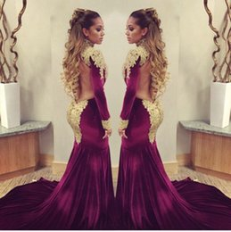 Wholesale 2016 Stunning burgundy velvet Mermaid Celebrity Red Carpet dresses with golden shiny sequins applique high neck backless evening prom gowns