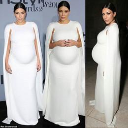 Wholesale Women Maternity Dress Party Evening Elegant Vestidos Red Carpet White Kim Kardashian Long Sleeve Plus Size Maxi Casual Dress