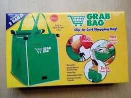 Con bolsa de la caja al por menor Grab Juego de 2 Bolsas reutilizables clip a la cesta de la compra de comestibles a estrenar