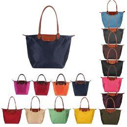 Discount deep shop Women PU Leather Handle Flap Tote Nylon WaterProof Shoulder Shopping Bag Handbag-Small size