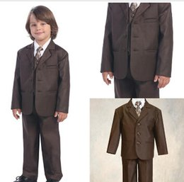 Wholesale Brown Boys Kids Formal Occasion Three Buttons Straight Pockets Wedding Party Suit Tuxedo Jacket vest Pants