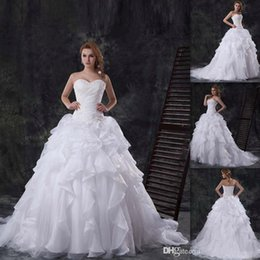 Wholesale Luxurious Traditional Wedding Dresses China Sweetheart White Organza Bridal Gowns Lace Up Winter Bride Dress Ball Gown South Africa