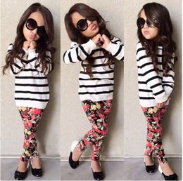 Wholesale 2015 new autumn girls fashion sets long sleeves striped kids tops sweet flower printed pants european children outfits kid clothing L0442