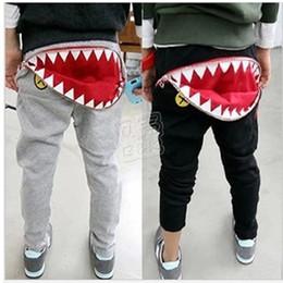 Wholesale 2015 Summer kids cool cartoon cotton pants baby boy girl casual Harem pants Good Quality shark tooth Zipper Harem pants Baby clothes C019