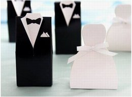 Wholesale Hot Candy Box Bride Groom Wedding Bridal Favor Gift Boxes Gown Tuxedo pairs BO7077