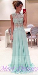 Wholesale Light Blue A Line Prom Dresses Sheer High Neck See Through Lace Long Chiffon Evening Dresses For Senior Teens Juniors Party Gowns