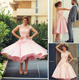 Wholesale Said Mhamad pink satin Tea length celebrity dresses appliques prom dresses custom made party cocktail gowns beach wedding dresses