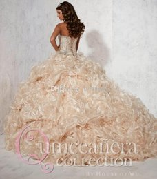 Wholesale Quinceanera Dresses Champagne Prom Gowns Sweetheart Crystal Bead Cascading Ruffles Sparkling Rhinestone Organza Sweep Trian Ball GownWJ