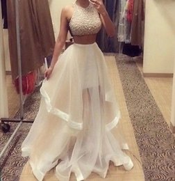 Wholesale 2015 fashion Sexy hot Champagne Two Piece Prom Dresses Women Long Evening Party Dress with sequins