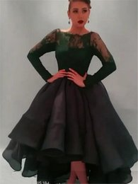Wholesale 2015 Hot New Saudi Myriam Fares Celebrity Prom Dresses A Line Long Sleeve Lace Bateau Neck Organza Skirt Green Charming Evening Prom Gowns